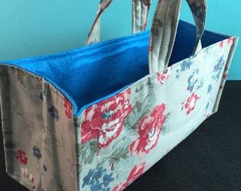 Long Rectangular Fabric Organiser Basket, Lined & Padded