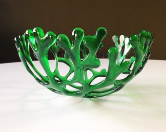 Decorative Fused Glass Branch Nest Coral Bowl in Green  Transparent Glass