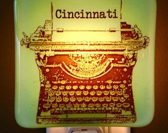 Typewriter Night Light Hometown Cincinnati Ohio