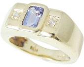 14k TANZANITE Diamond Ring HEAVY Gold Setting BOLD and Beautiful