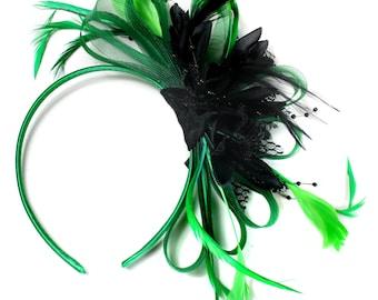 Emerald Green & Black Feathers Fascinator on Headband