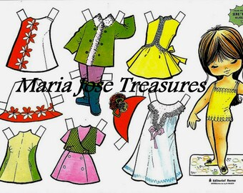 Vintage Spanish Paper Dolls with red and white outfit  - Digital Download