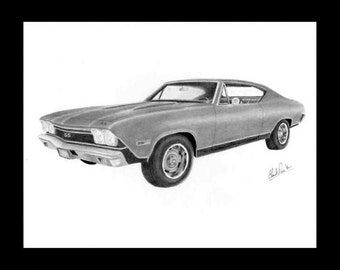 Car art pencil drawing of a 1968 Chevelle