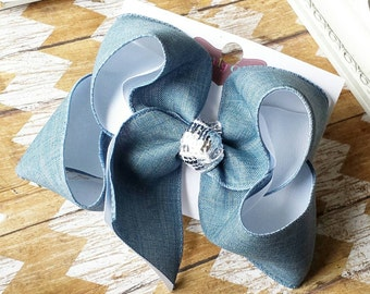 Denim Hairbow White Double Layer Bow Large