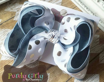 Denim Hairbow Silver Polka Dot Exlarge Bow Double Layer