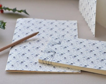 Stationery set, 2 handbound notebooks and a card, floral pattern