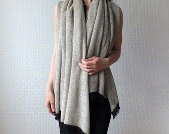 Knitted natural linen wrap shawl - Large knit shawl - Ecru
