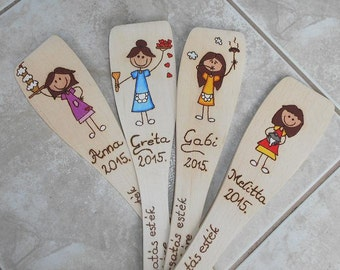 Personalised Wooden colorful spoon hand engraved burning wood (Surprise your friend)