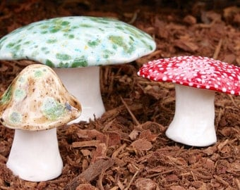 Three hand crafted ceramic toadstools - T87