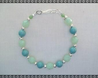 green bracelet, green opal, light green bracelet, silver, green