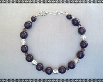 purple bracelet, dark purple bracelet, crystal bracelet, silver, eggplant