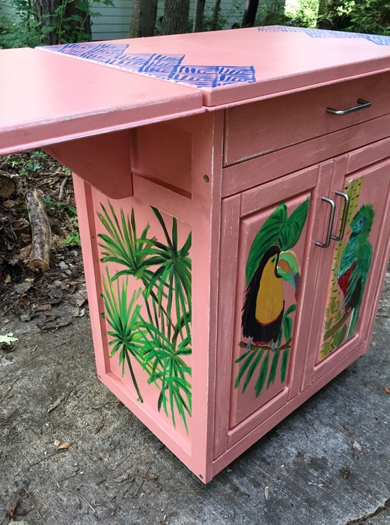 Painted tropical kitchen island liquor cabinet sunroom for Tropical themed kitchen