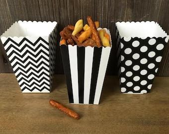 Black Chevron, Stripe and Polka Dot Paper Popcorn Boxes- Treat Box- Wedding or Birthday-36 Ct.