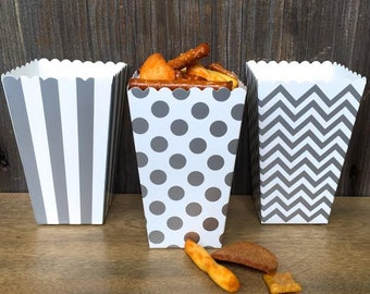 Silver Chevron, Stripe and Polka Dot Paper Popcorn Boxes - Treat Boxes- Wedding, Party Supply  36 Ct.