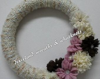 Yarn Wreath, Yarn Wreath with Flowers, Yarn Wreath with Bling, Cream Yarn Wreath, Mauve Yarn Wreath, Brown Yarn Wreath,  Door Wreath