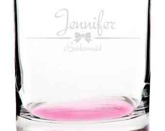 Custom Engraved Personalized Pink Bottom Rocks Whiskey Glass Groomsman Wedding Best Man Bridesmaid Father Gift Add Text & Images!