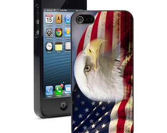 For Apple iPhone SE 4 4s 5 5s 5c 6 6s 7 Plus Hard Case Cover 729 American Flag Bald Eagle