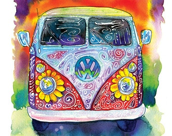 Groovy Hippy Bus - Artist Signed Print
