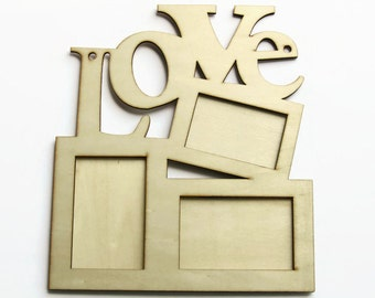 diy love picture frame wooden photo frame eco friendly wood plywood frame ready to paint wooden supplies home decor craft oc65 - Wooden Picture Frames To Paint