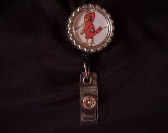 Sports Badge Holder - Badge Reel (114) - St Louis Cardinals Badge Reel - Cardinals Fredbird ID Holder Badge Reel
