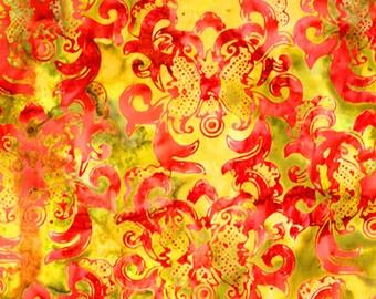 Anthology Fabrics Bali Batik 9094 Red on Gold Yardage