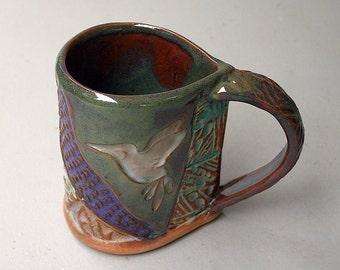 Hummingbird Pottery Mug Coffee Cup Handmade Functional Tableware Microwave and Dishwasher Safe 12 oz