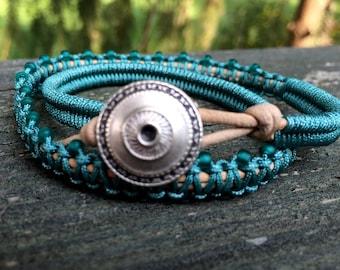 Wrap Bracelet - Leather Wrap Bracelet - Macrame Wrap Bracelet -Boho Jewelry - Leather Clasp - Summer Fun