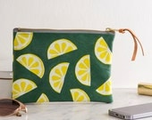 Screen Printed Green Leather Zipped Purse Make Up Bag - Lemons / Fruit