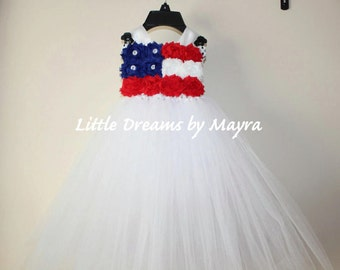 Patriotic 4th of July tutu dress - Miss America tutu dress and matching hairclip size nb to 12years
