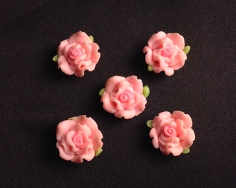 5 Pink Polymer Roses Nail Charms