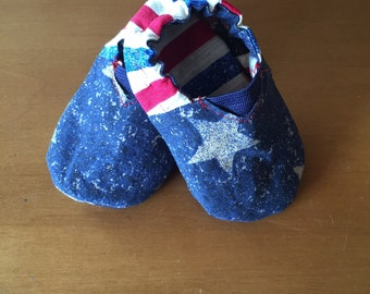 Stars and Stripes Reversible Soft Soled Baby Shoes