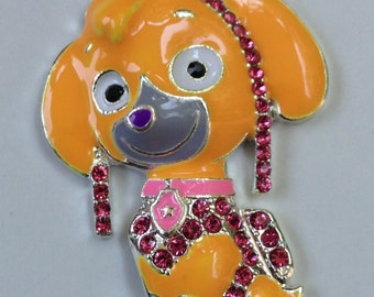 49mm Paw Patrols Sky Inspired Rhinestone Pendant Chunky Necklace Beads