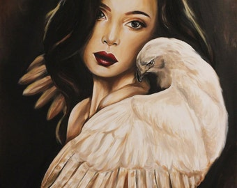 Original oil painting girl with bird