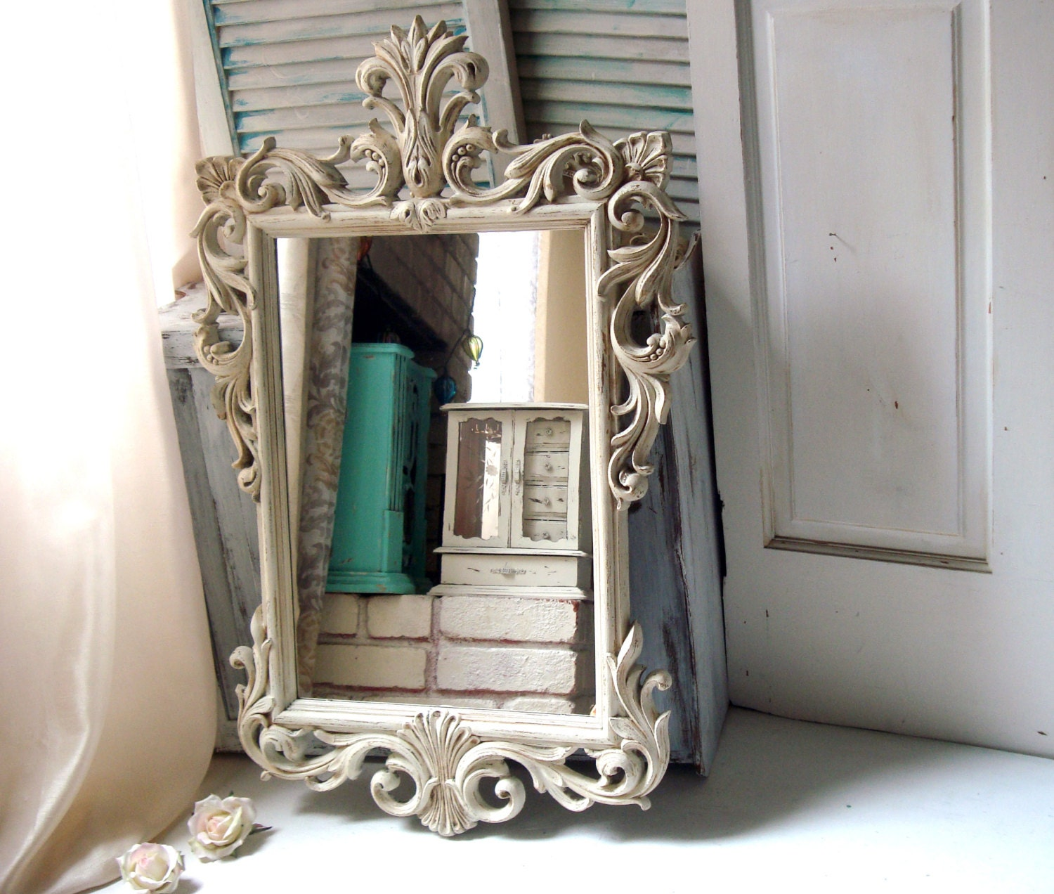 Antique white vintage ornate mirror off white large mirror for Large white mirror