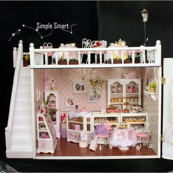 Miniature Dollhouse DIY Kit Chocolate Kiss Cake Shop with LED lights and Music Box Cute Room House Model mediterranean beach house & Miniature Dollhouse DIY Kit Chocolate Kiss Cake Shop with LED azcodes.com