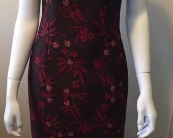 Elegant chinoise floral dress 1980's Privelege  Paris Made in France gorgeous!