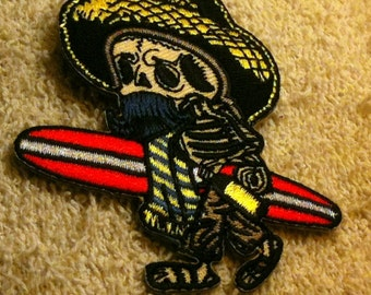 El Borracho the Drunk Surfing Skeleton Embroidered Iron On Applique Patch Surfing Patch Skeleton Patch Skull Patch Surfer Patch  b23
