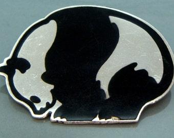 VINTAGE 925 Sterling Silver Black Enamel Panda Bear Brooch Pin Mexico