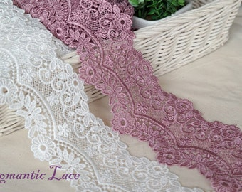 "1yds Broderie Anglaise Vintage Venice lace trim 2.8""(7cm) YH weave1 laceking2013"