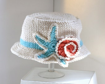 Hat | Accessory | Children | Kids | Beach Hat | Cotton Hat | Nautical | Bucket Hat | Cotton Crochet | Beach | Shells | Cream | Made in US