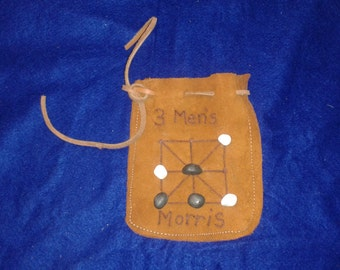 3 Men's Morris Leather Game Pouch