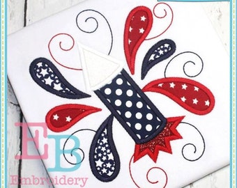 Swirly Firework Applique - This design is to be used on an embroidery machine. Instant Download