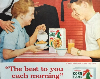 1959 Kellogg's Corn Flakes Ad, featuring the young man getting a good breakfast before graduation day begins. Awesome retro ephemera.