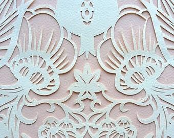 Papercut Ketubah Art Nouveau Flowers with Honeycomb