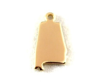 2x Gold Plated Blank Alabama State Charms - M115-AL