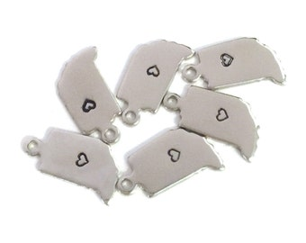 2x Silver Plated Indiana State Charms w/ Hearts - M070/H-IN