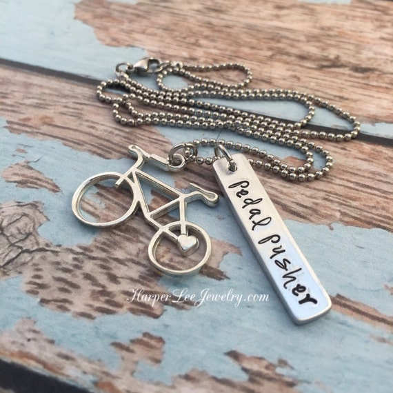 Hand case pewter bicycle charm bike necklace by for Ride or die jewelry