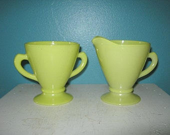 Hazel Atlas Ovide Yellow Sugar And Creamer Set, Vintage Glassware, Kitchen Serving