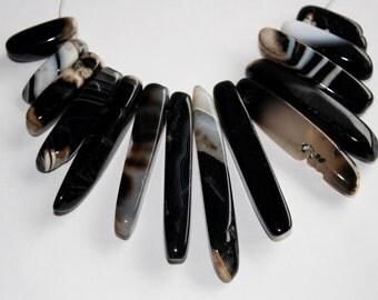 Genuine Polished Black Agate Choker