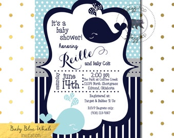 Baby Blue Whale Baby Shower Invitation
